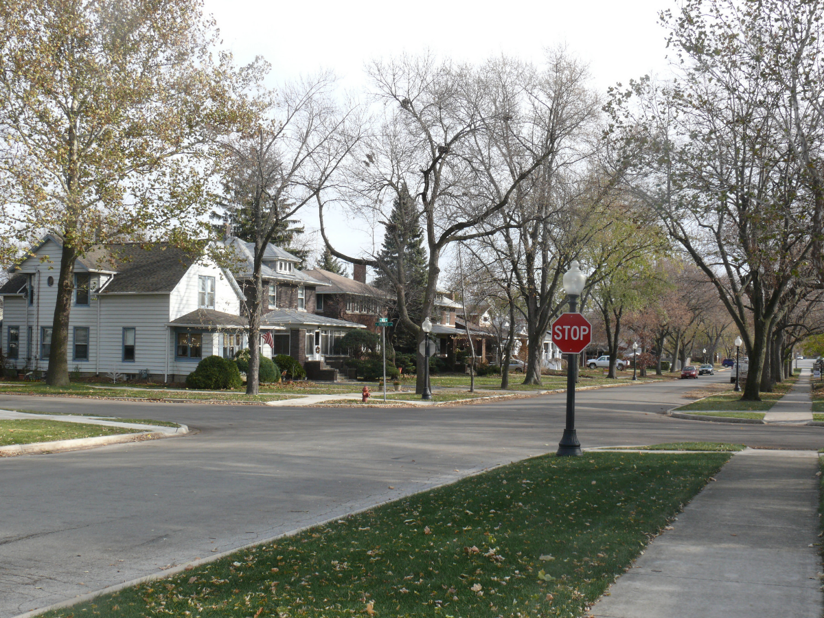 Houses line Buell Avenue and Prairie Avenue in Joliet's Cathedral Area. (Flickr/David Wilson)