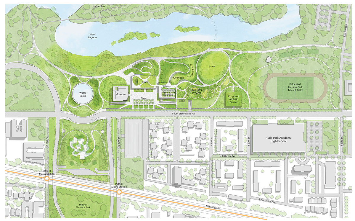 The site plan shows the way the proposed 225,000 square foot center would be laid out along the lakefront. (Courtesy of the Obama Foundation)