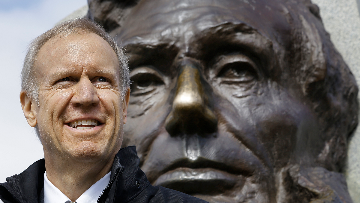 Illinois Gov. Bruce Rauner participates in ceremonies honoring former President Abraham Lincoln in celebration of Lincoln's birthday at the Tomb of President Lincoln on Feb. 12, 2015, in Springfield. (AP Photo/Seth Perlman)