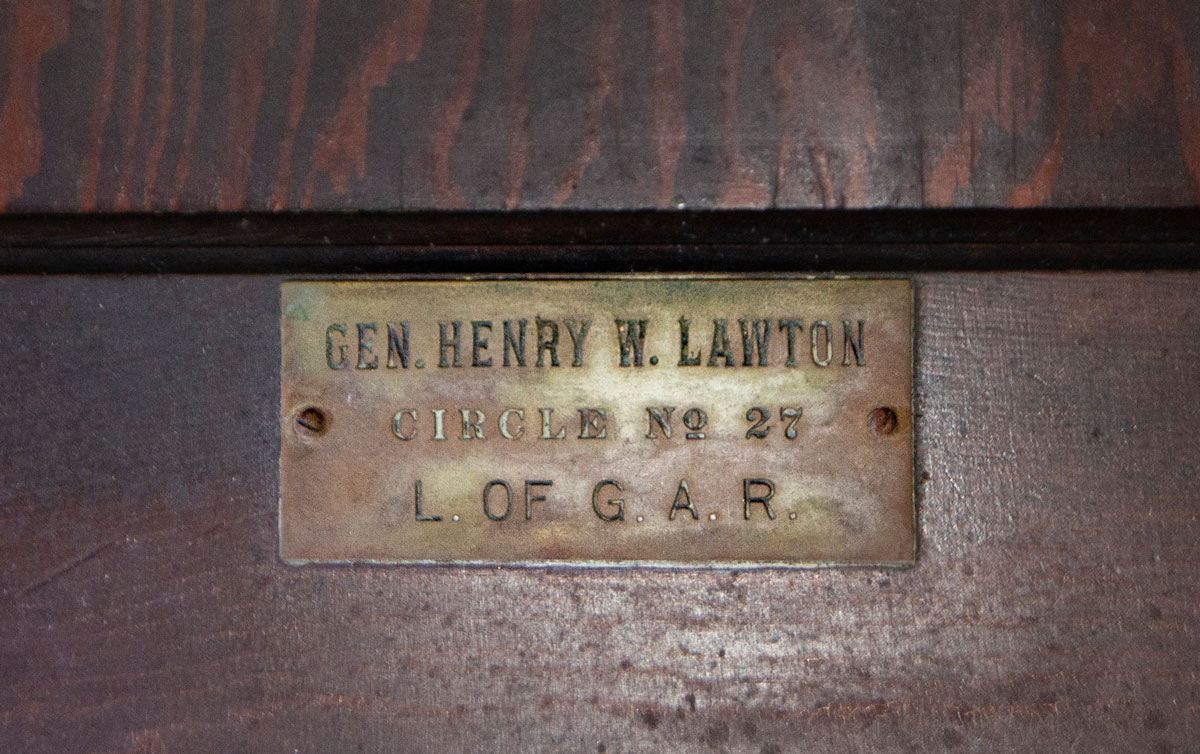 Doors with nameplates were found in the basement, including this one bearing the name of famed Civil War soldier Henry Lawton. However, there's no clear indication that his wife, Mary, was a resident of the home. (Jason Marck/WBEZ)
