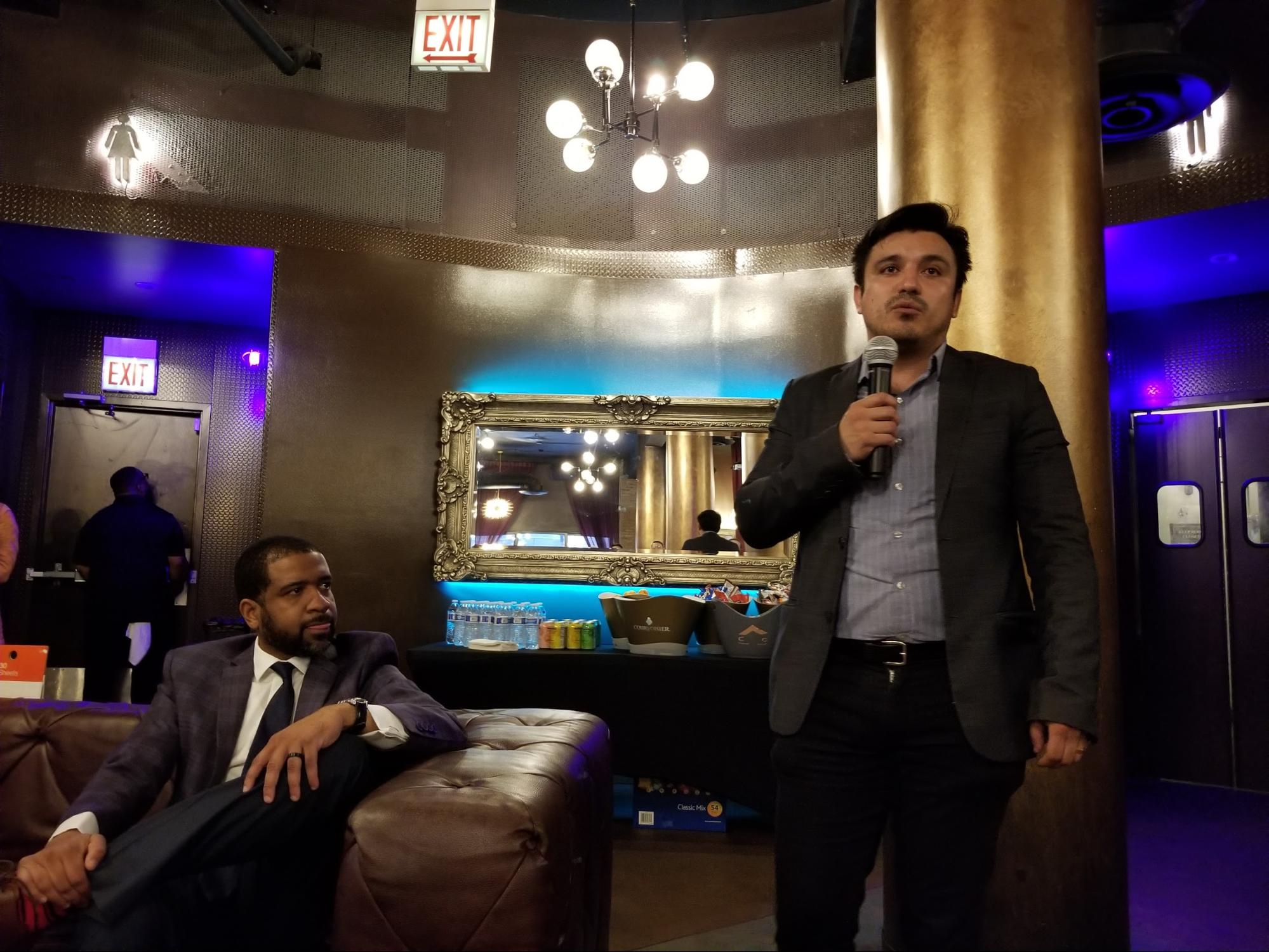 Alderman-elect Byron Sigcho-Lopez (right) convened a community meeting this week on The 78 after a lame-duck City Council last week authorized nearly $1 billion in taxpayer subsidies for the project.