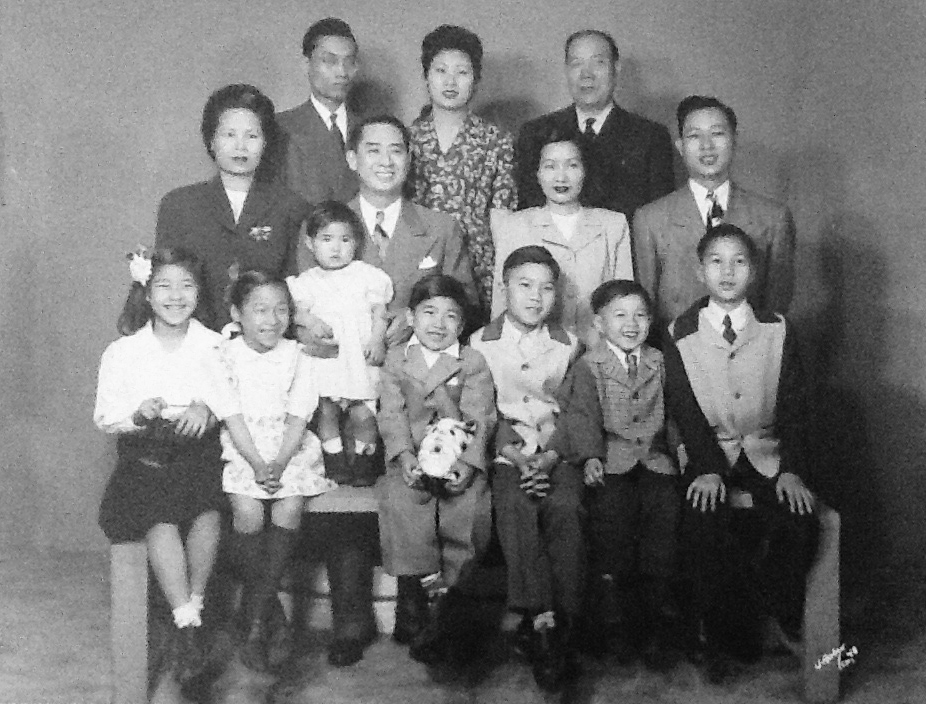 According to Monica Eng's uncle George (top left), her grandfather Harry Eng (seated second row, left) joined On Leong after his uncle John Eng was murdered. Harry Eng's association with the tong allowed him to stay alive, bring relatives over from China, and raise his growing family. (Courtesy of Monica Eng)