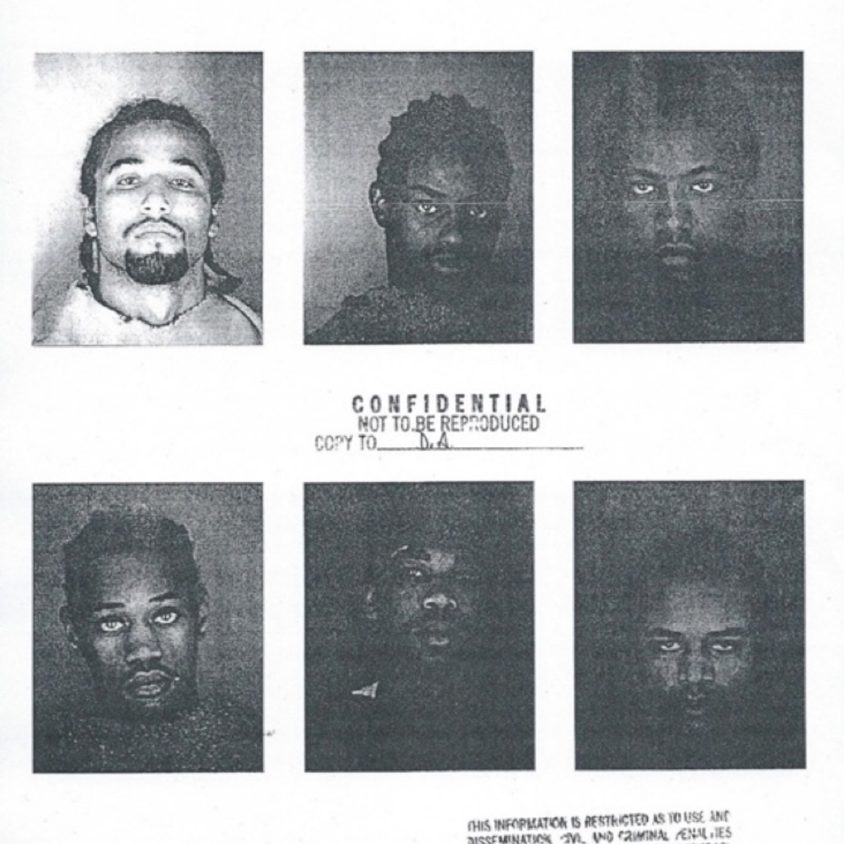 Photocopy of the six-person lineup that the Kansas City, Kansas Police Department showed witnesses.