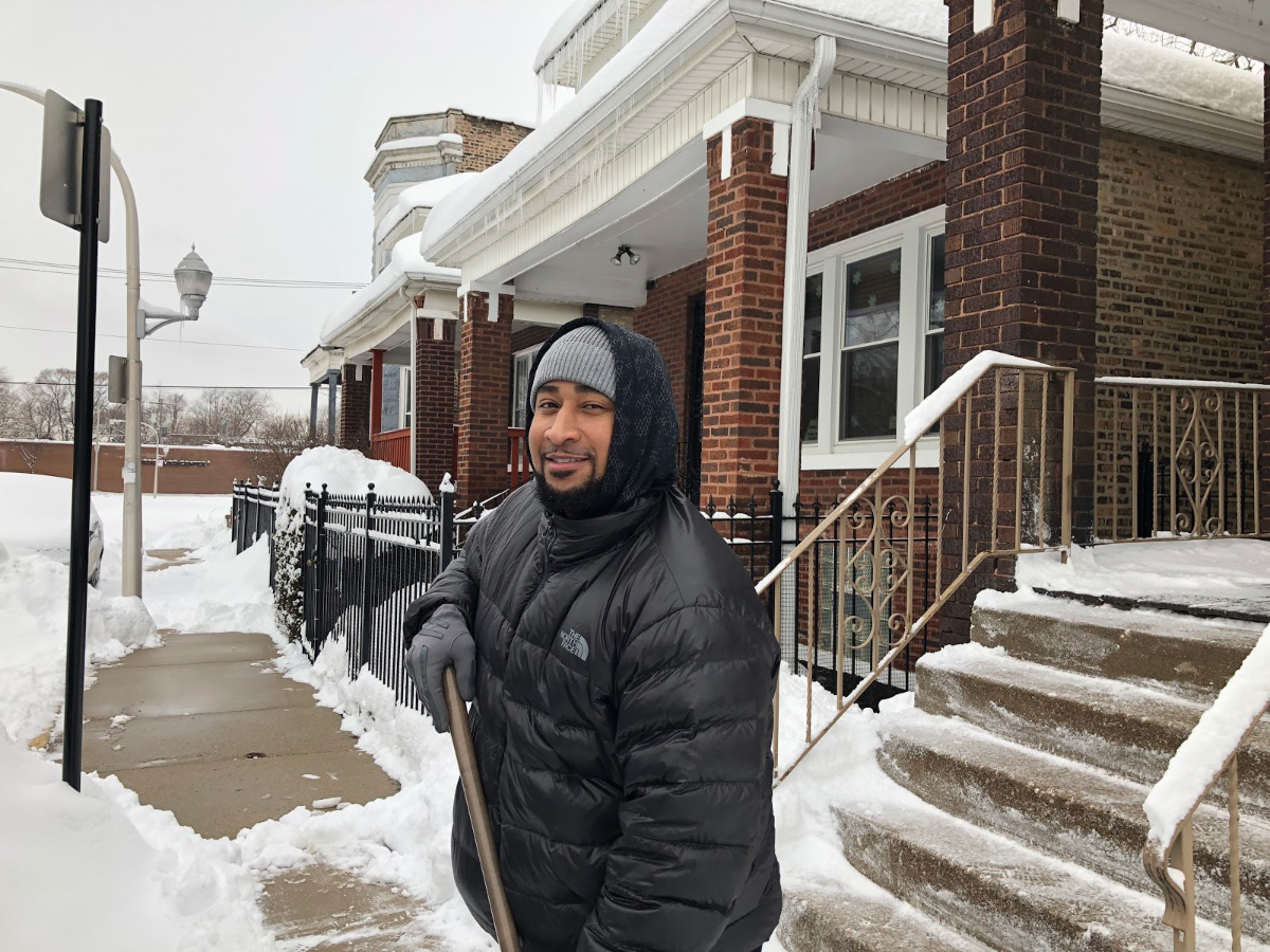 'This is the city of Chicago: the greediest city ever,' said Jason, an Englewood resident who declined to give his last name, after he learned he could be ticketed for not shoveling the sidewalks near his home. (Greta Johnsen/WBEZ)