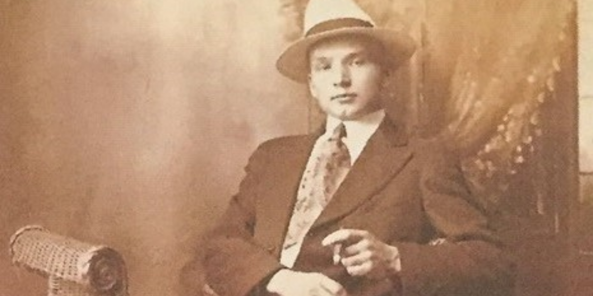 Frank Szerlag, Chet Szerlag's father, shortly after arriving in the United States. He was unskilled and spoke no English, but eventually found work at his sister's furniture business in Detroit. (courtesy of Chet Szerlag)