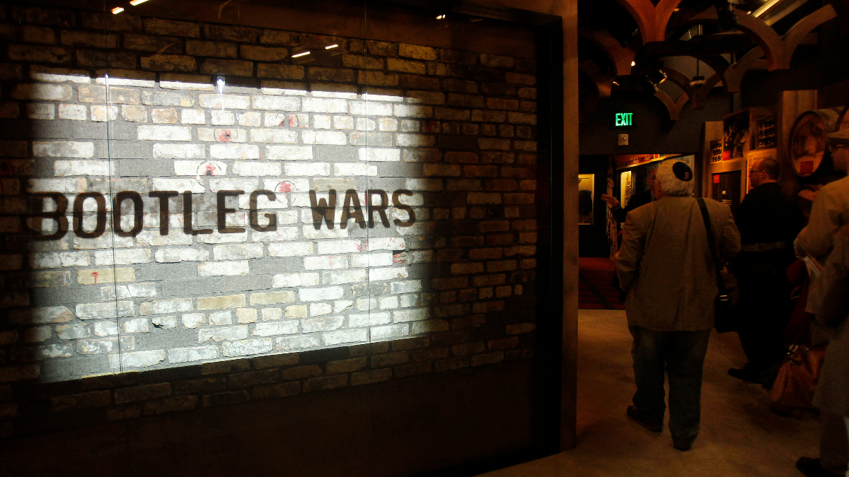 A movie is projected on the original brick wall from the St. Valentine's Day Massacre at The Mob Museum on Monday, Feb. 13, 2012, in Las Vegas. (AP Photo/Isaac Brekken)