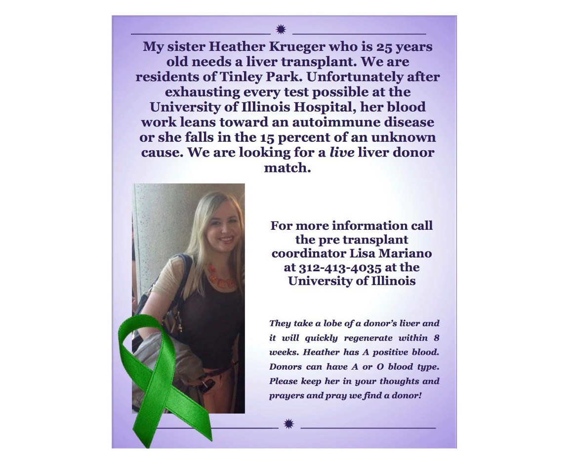 Krueger's younger sister, Ashley, made this flyer. The family put it up in restaurants, churches, fire departments, and other places in Chicago's south suburbs. (Courtesy of Heather Krueger)