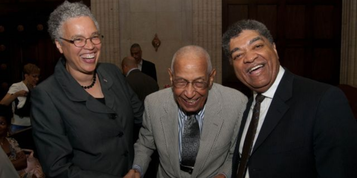 Cook County Board President Toni Preckwinkle, Judge Leighton, and Cook County Chief Judge Timothy C. Evans share a pleasant moment prior to the dedication of the George N. Leighton Criminal Court Building. (Photo courtesy of Courtesy of the Illinois Bar Association/Chris Bonjean)