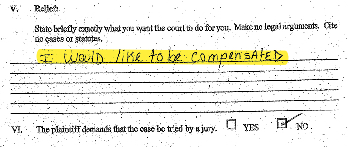 In his lawsuit against the Cook County Jail, inmate Patrick Lee Osborne asked 'to be compensated' for poor living conditions and food 'that makes you sick all the time.'