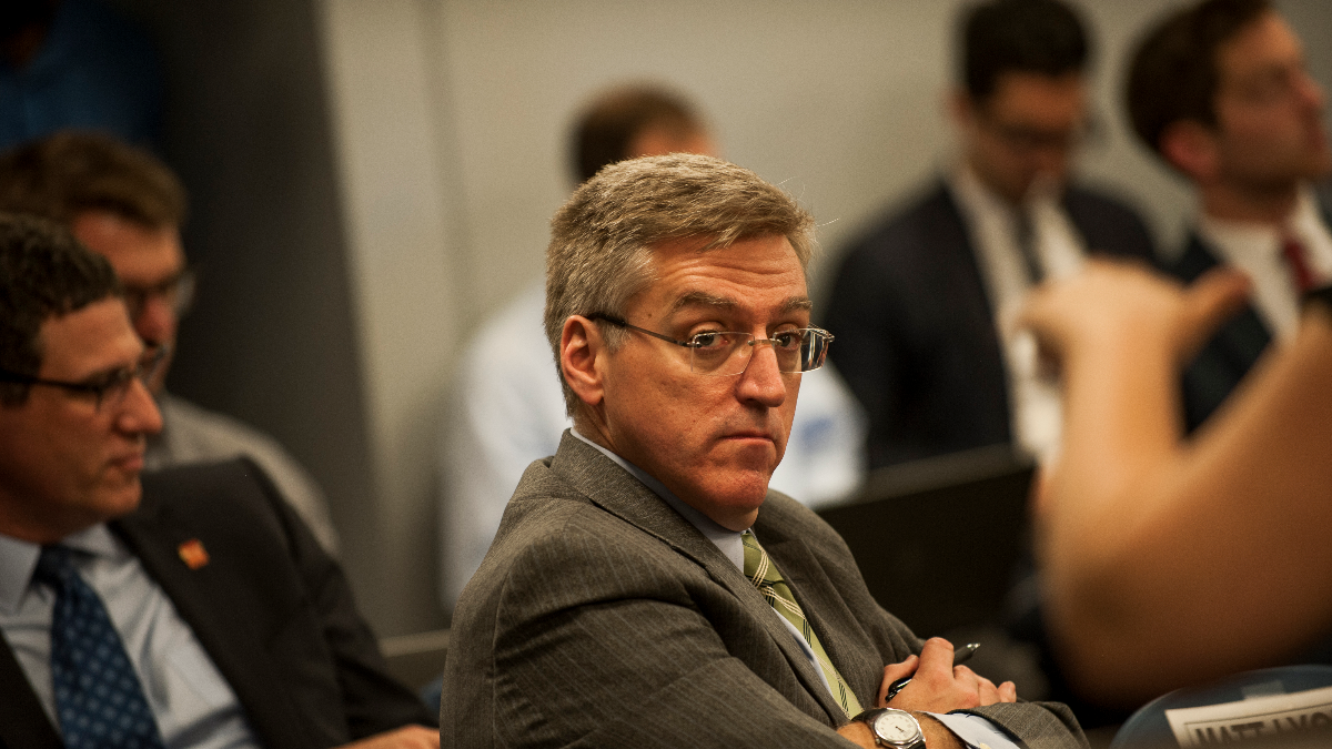 CPS Inspector General Nick Schuler at a Chicago Board of Education meeting on June 27, 2018. (Bill Healy/WBEZ)