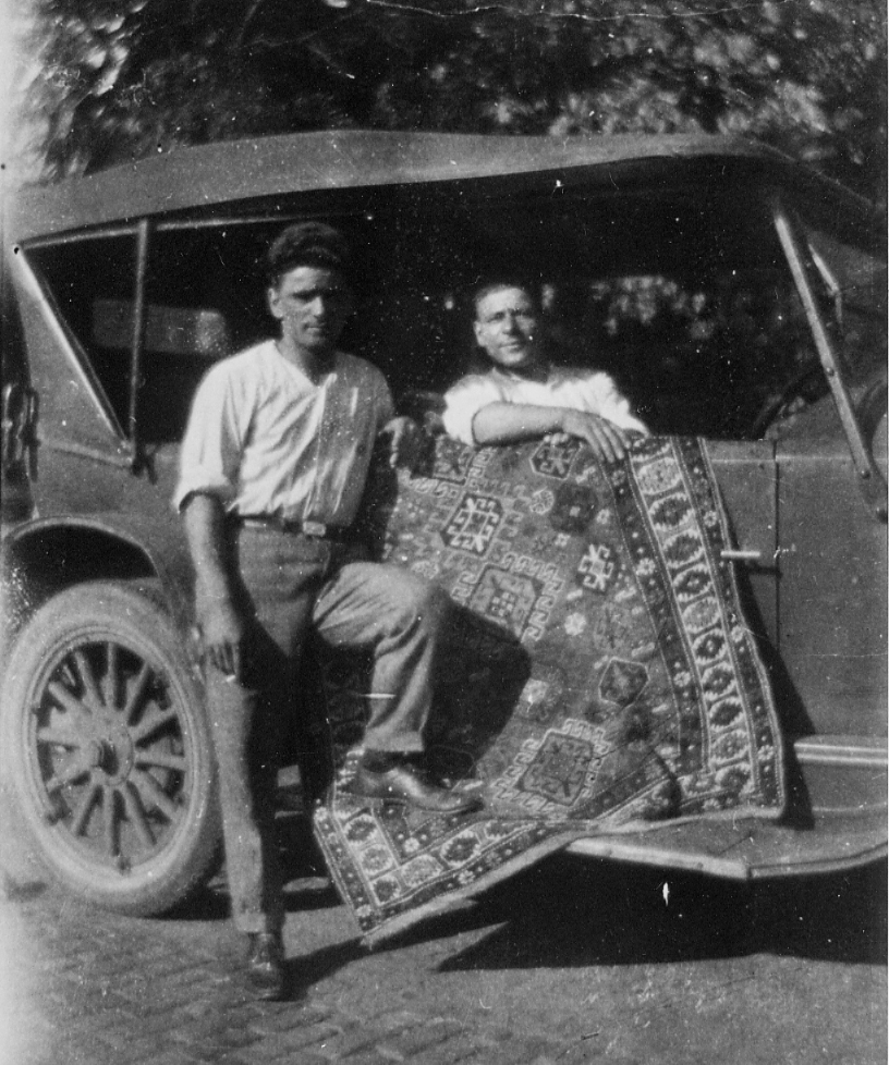 According to family lore,  Armenian immigrant and rug merchant Oscar Isberian (right), traveled to the North Shore suburbs and Evanston selling rugs from the back of his car. He later established a store in 1920, which still exists on Chicago Avenue and is a third-generation owned family business. (Photo courtesy of Sarkis Tatosian.)