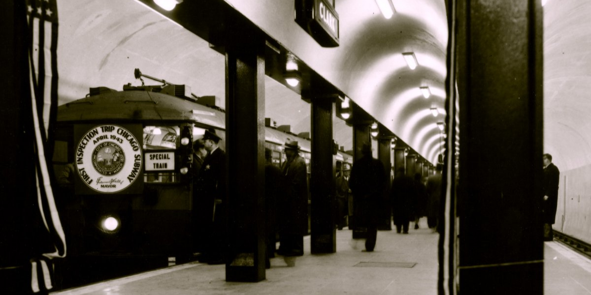 The 4.9 mile State Street Subway opened on October 17th, 1943 with funding from President Franklin Roosevelt's New Deal program. It is Chicago's first underground transit line. (Image Courtesy of CTA )
