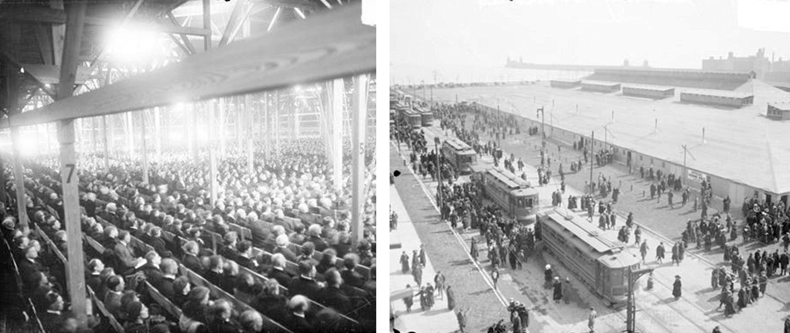 For his 1918 Chicago Crusade, Billy Sunday set up a tabernacle on Chicago Avenue near Lake Michigan that reportedly held up to 16,000 people at a time. (Courtesy Chicago History Museum)