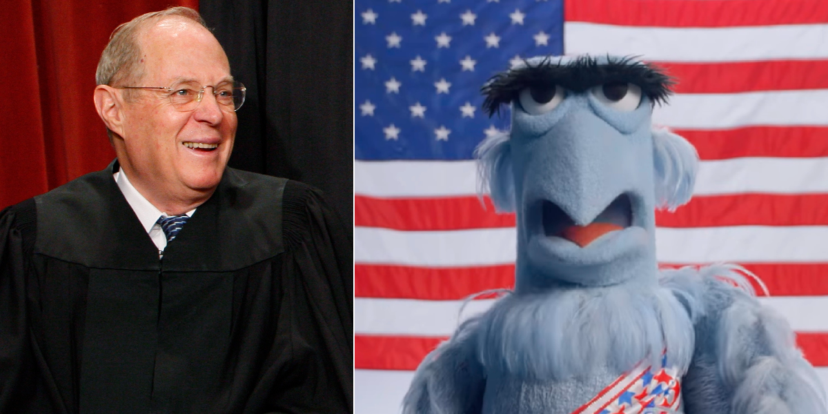 Anthony Kennedy? Lithwick says he's Sam the Eagle. (Charles Dharapak/AP, Screenshot from YouTube/Disney/The Muppets)