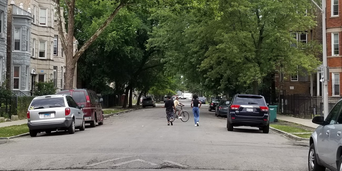 The 1300 block of South Millard Avenue in Chicago on Monday. Early Sunday morning, six people were shot here — five of them under 18. (Linda Lutton/WBEZ)