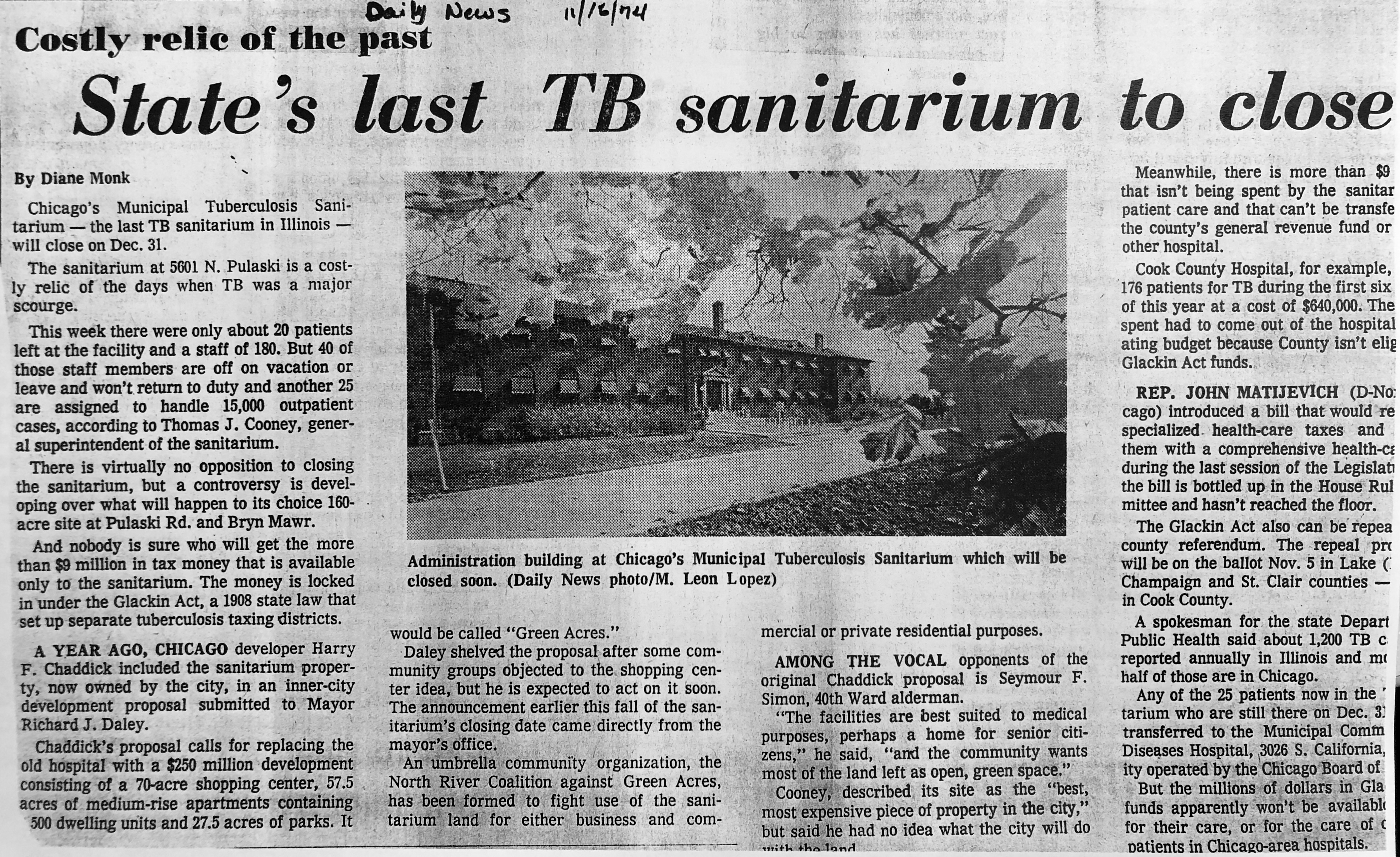 A November 1974 Daily News article details the closing of the sanitarium, and the controversy over what to do with the campus.(Courtesy Chicago Sun-Times)