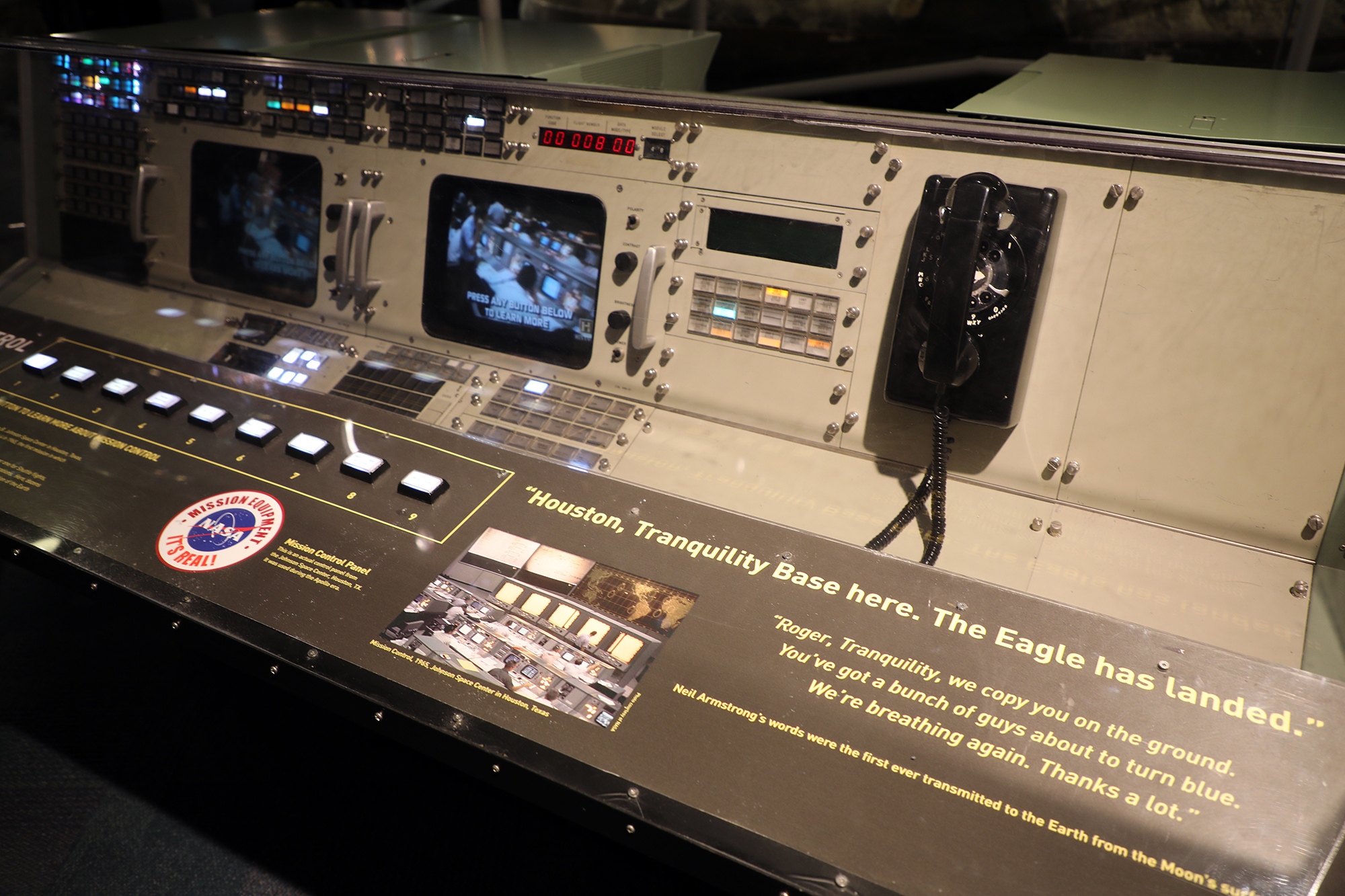 A mission control panel from the Johnson Space Center in Houston, Texas that was used during the Apollo era. (Arionne Nettles/WBEZ)