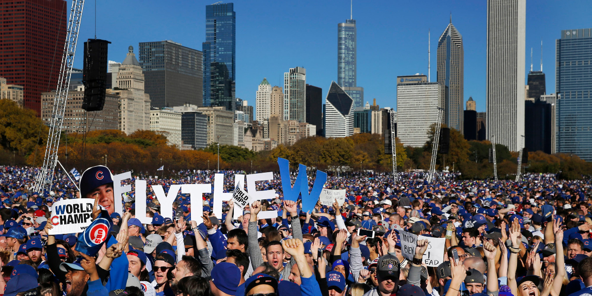 Fans gather at Grant Park for a rally honoring the World Series champions. (Charles Rex Arbogast/Associated Press)