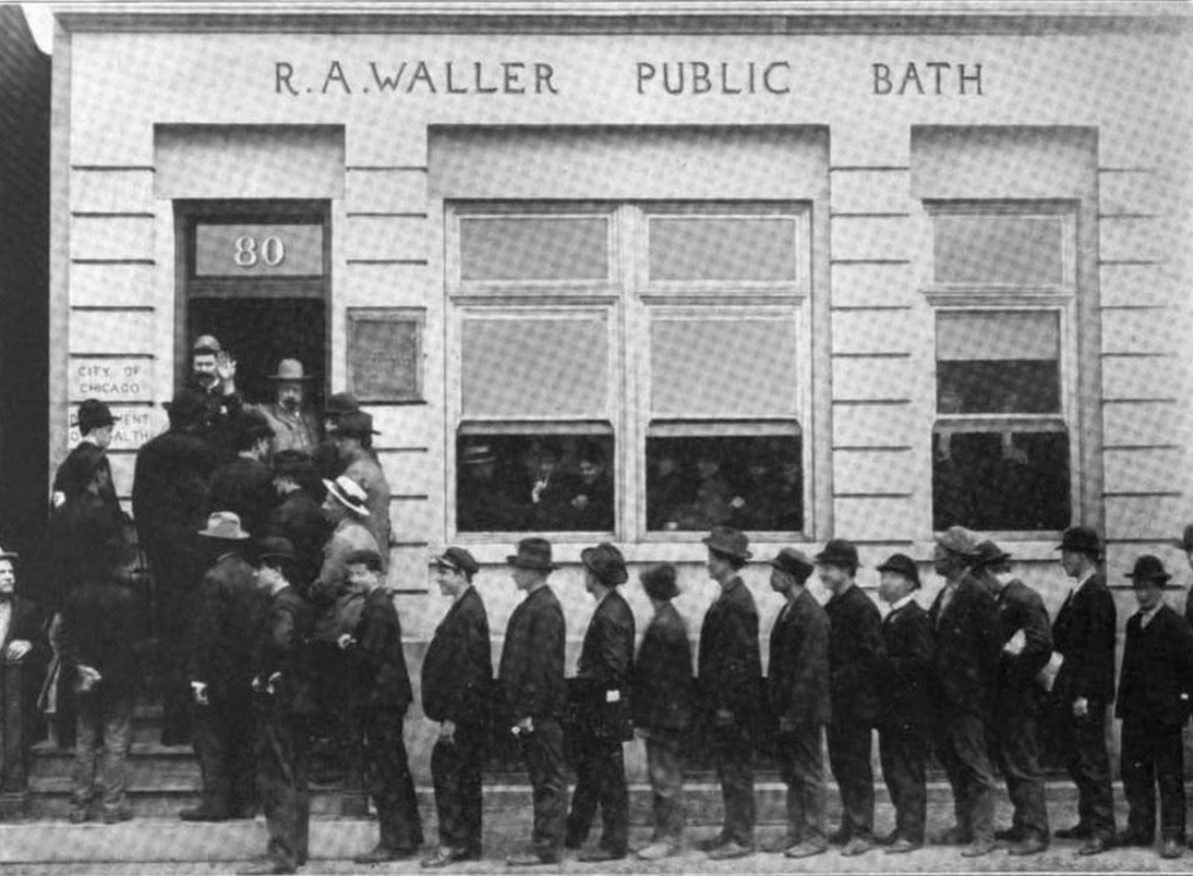 Men's hour at R. A. Waller Public Bath. (Courtesy Chicago Health Department)