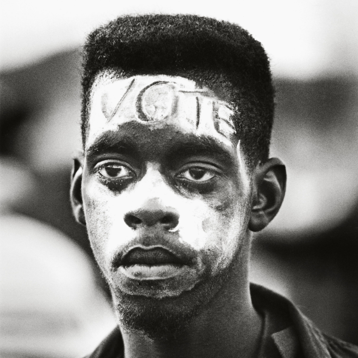 One of Schapiro's favorite images from the era, a young man at a rally for voting rights in Mississippi