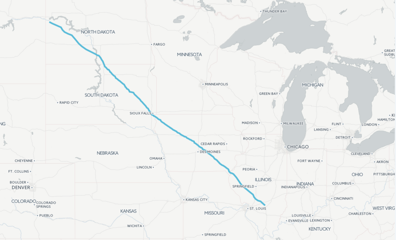 The Dakota Access Pipeline runs nearly 1,200 miles from North Dakota to Illinois. (WBEZ/Katherine Nagasawa)