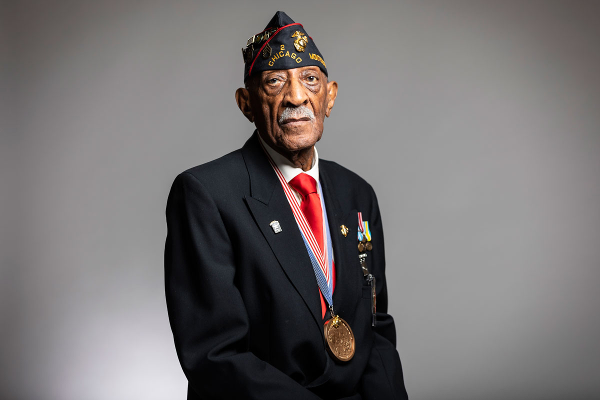 """So many people in the country don't know anything about the black Marines,"" said James Reynolds, 91. (Manuel Martinez/WBEZ)"