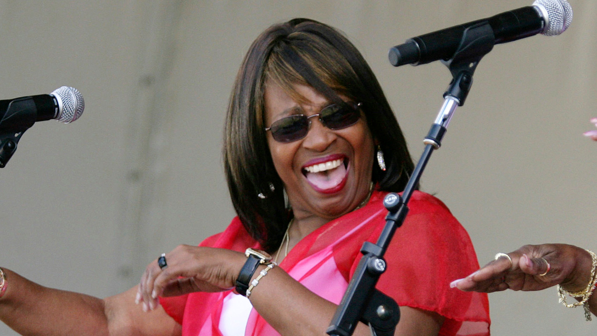 Joan Marie Johnson, a founding member of The Dixie Cups, performing in May 2008 during the New Orleans Jazz & Heritage Festival in New Orleans. (AP Photo/Dave Martin).