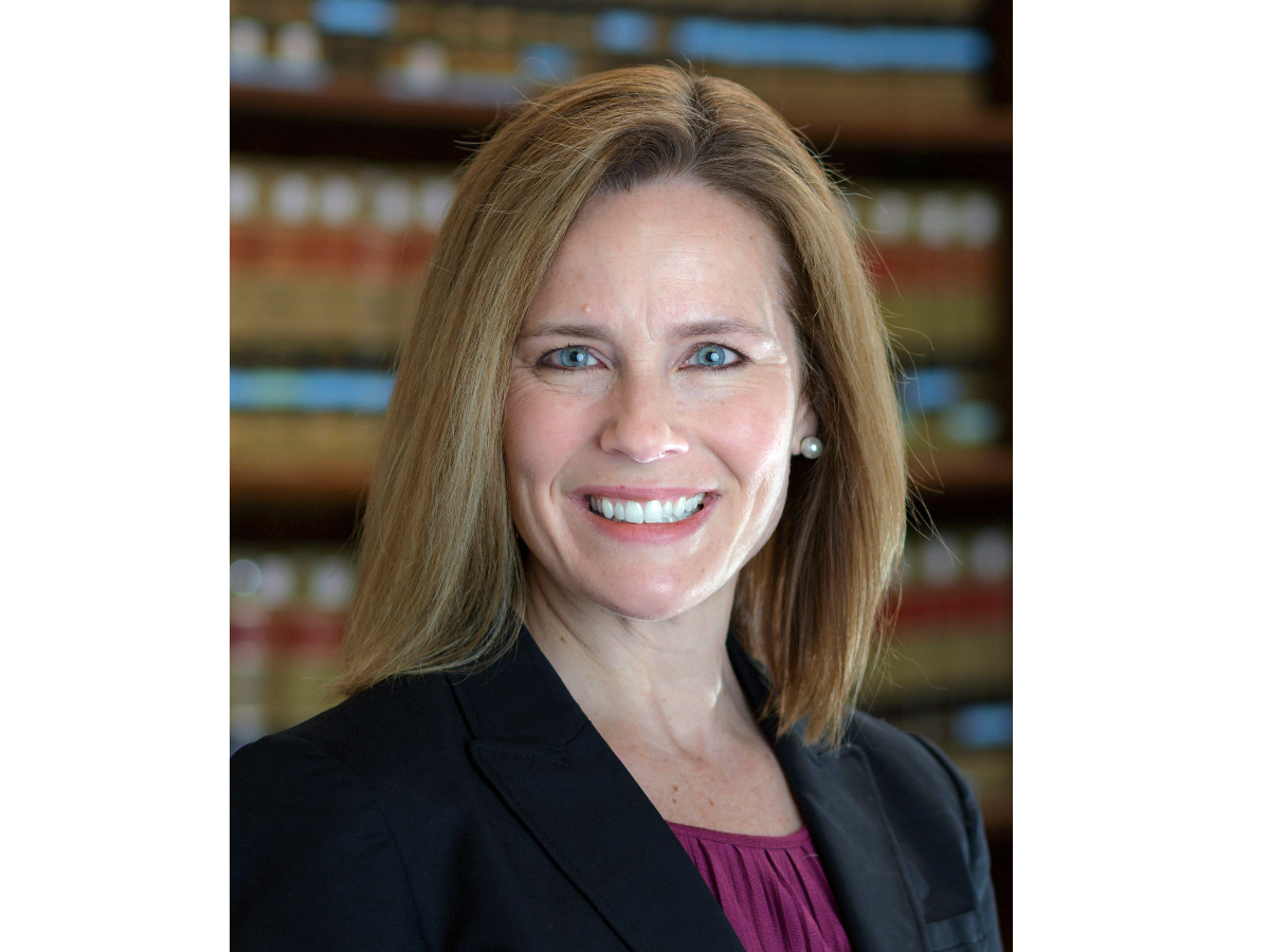 This 2017 photo provided by the University of Notre Dame Law School shows Judge Amy Coney Barrett, who is on President Donald Trump's list of potential Supreme Court Justice candidates to fill the spot vacated by retiring Justice Anthony Kennedy. (University of Notre Dame Law School via AP).