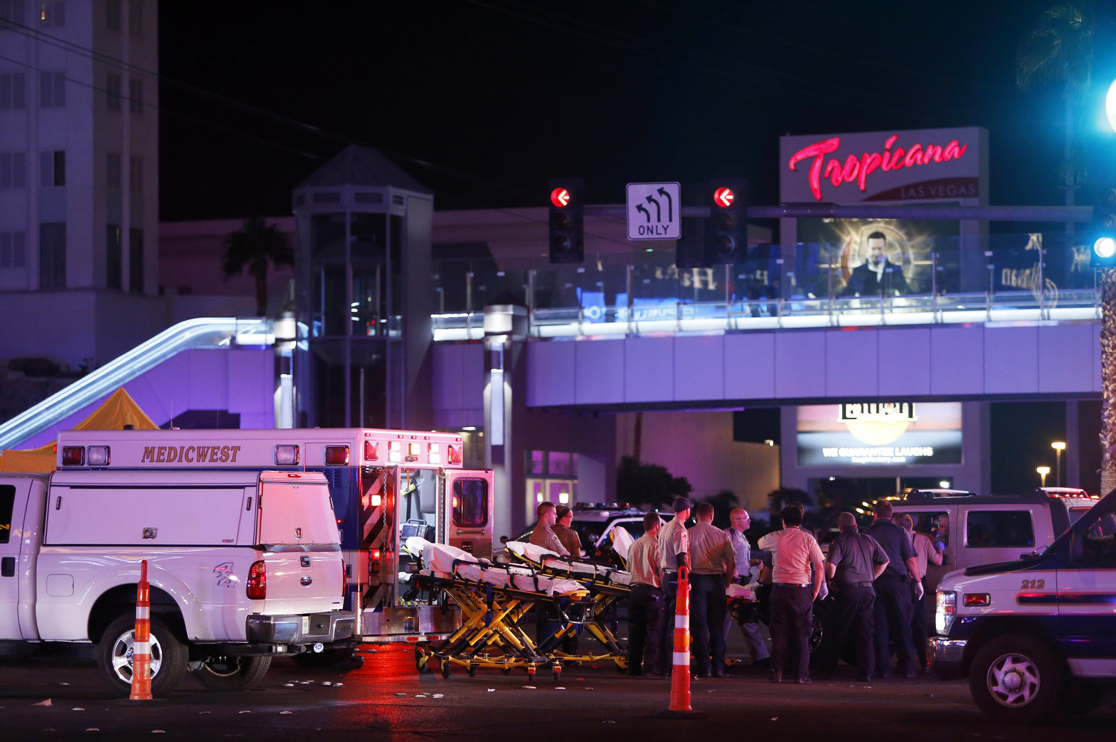 Medical workers set up a staging area near the Route 91 Harvest festival concert on the Las Vegas Strip on Sunday. Gunfire was reported around 10:08 p.m. local time, Clark County Sheriff Joe Lombardo said at a news briefing. (Steve Marcus/Courtesy of Las Vegas Sun)