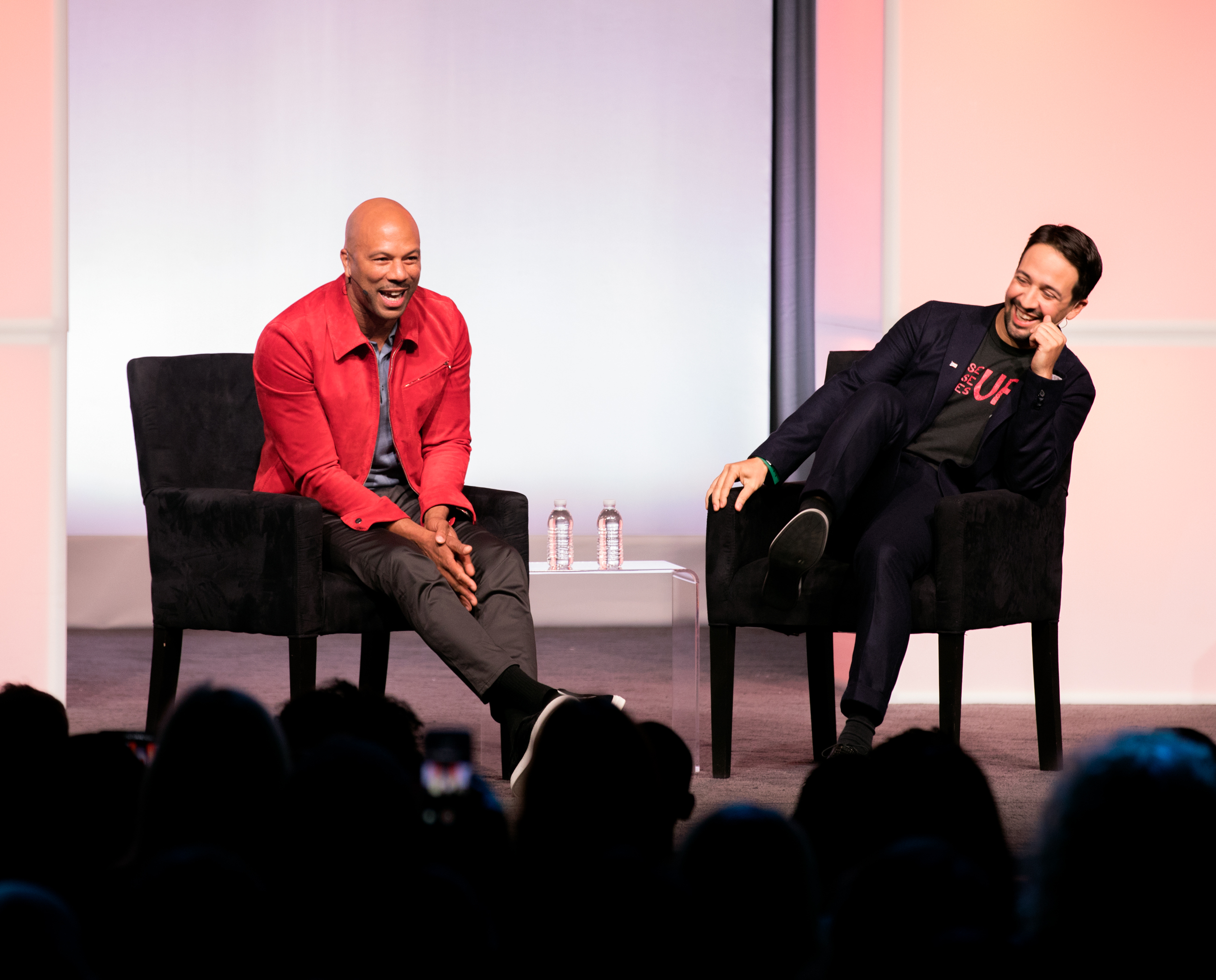 "Actor and musician Common, left, and ""Hamilton"" creator Lin-Manuel Miranda, right, have an onstage discussion at the closing session for the inaugural Obama Foundation Summit in Chicago on Wednesday, Nov. 1."