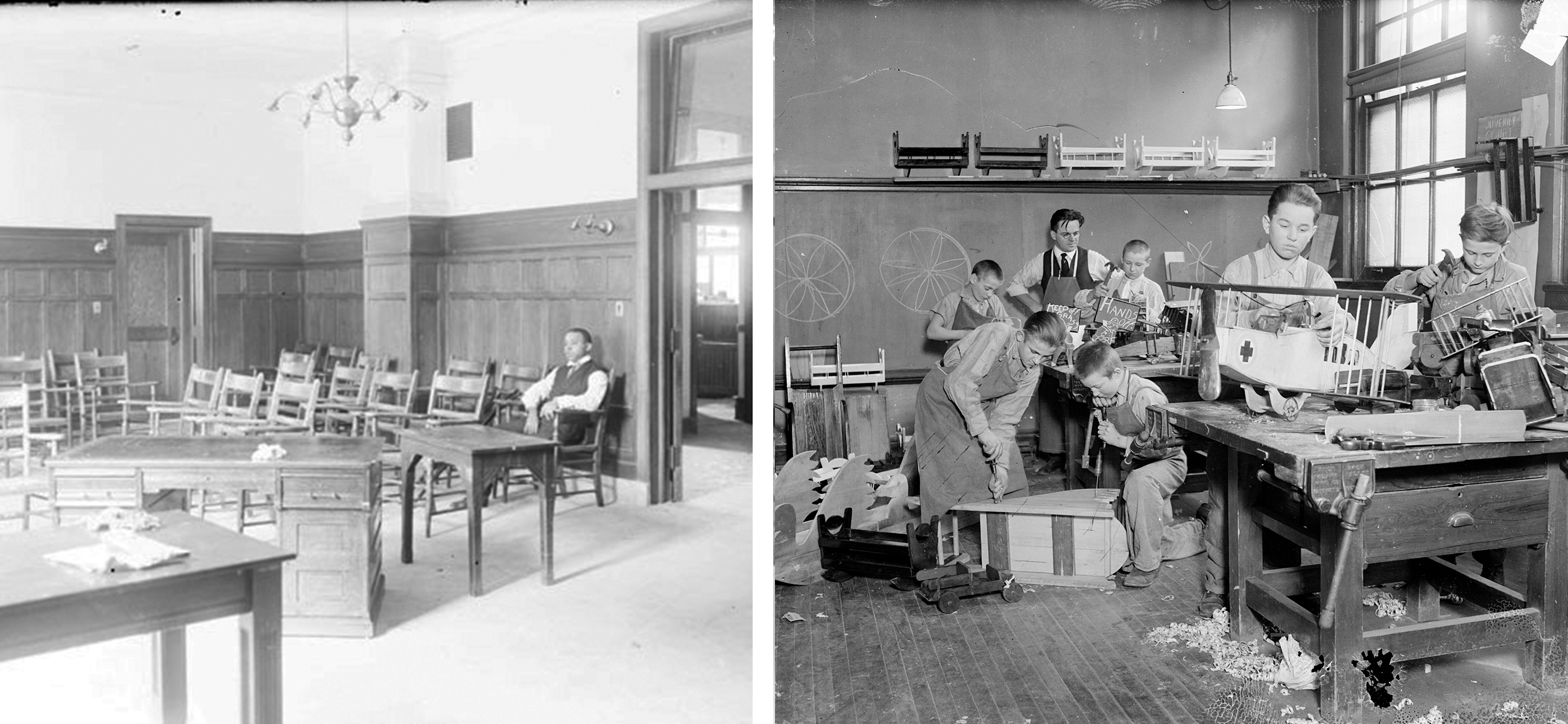 The courtroom (left photo) was adjacent to a detention center (right). The detention center included a workshop where young boys could do woodworking. (Courtesy Chicago History Museum, DN-0005150 and DN-0071323)