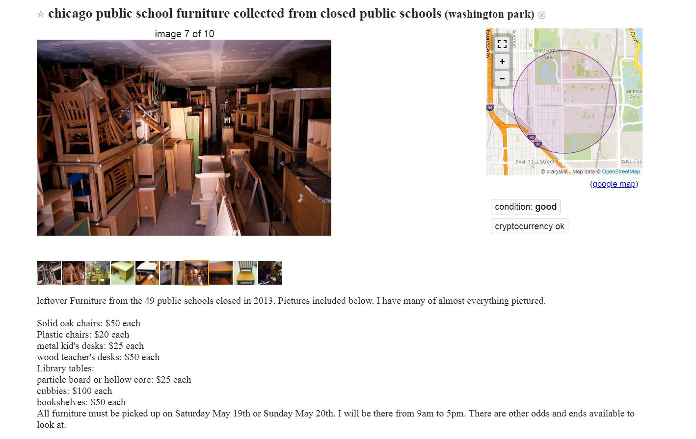 A screenshot of the ad from Craigslist.