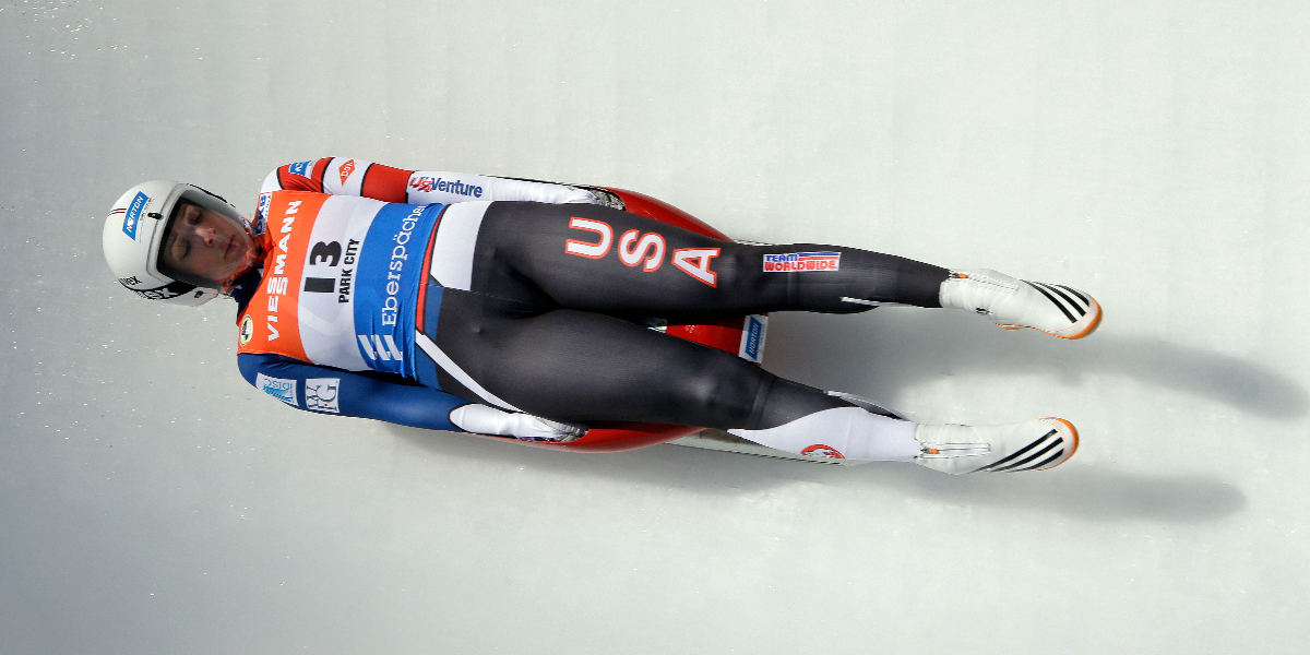 Erin Hamlin speeds down the course during the women's World Cup Luge event in Park City, Utah in December 2016. Hamlin came in first place. (AP Photo/Rick Bowmer, File).