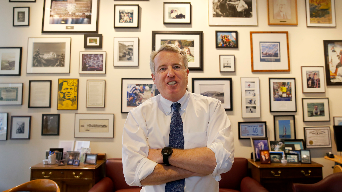 Chicago businessman Chris Kennedy poses for a portrait in his office Wednesday, Feb. 8, 2017, in Chicago. Kennedy, the son of the late Sen. Robert F. Kennedy Jr., says he will run for Illinois governor in 2018. (Charles Rex Arbogast/AP)