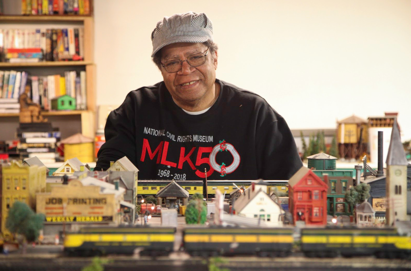 Retired CTA operator Michael Powell has a miniature train set in his basement, which includes a model of a CTA train. (WBEZ/John Fecile)