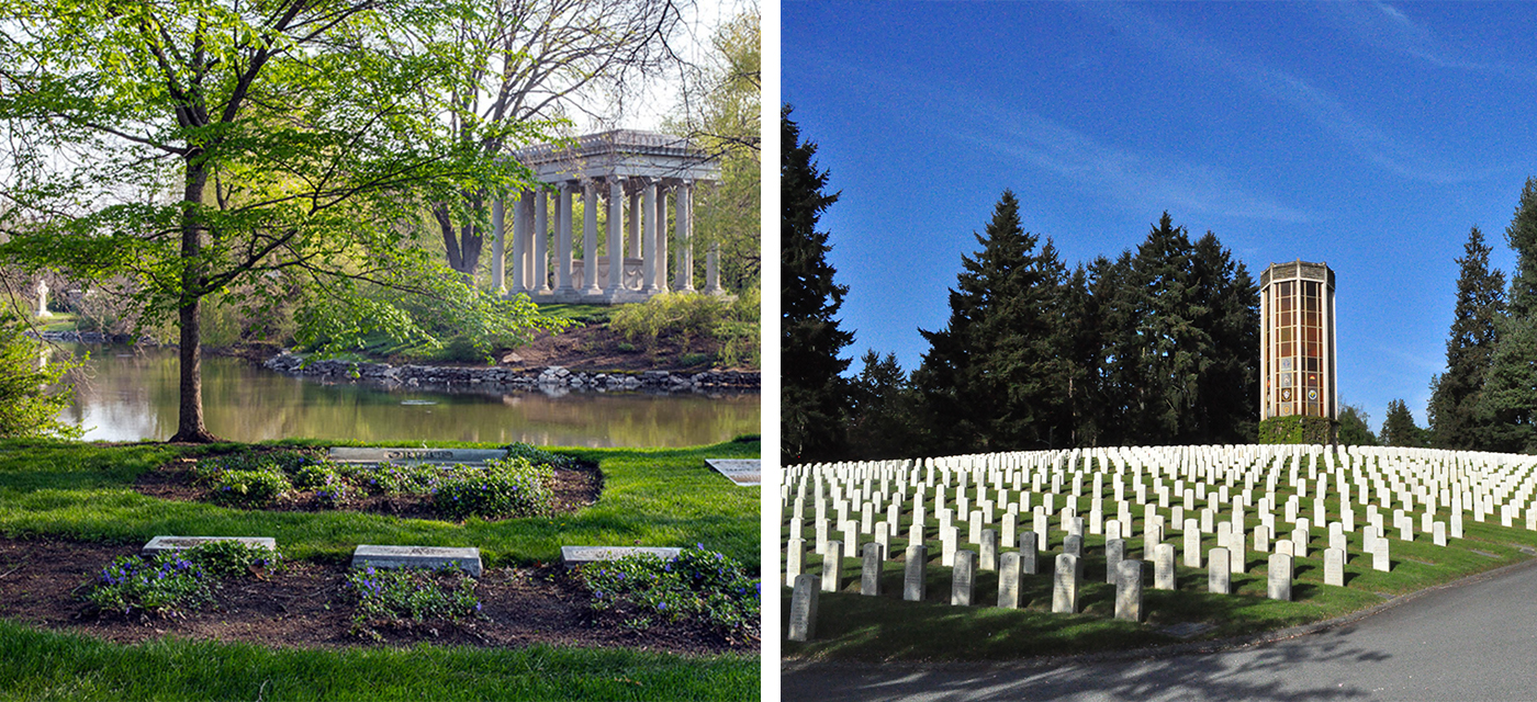 In the early 1900s, shifting values around death and mourning caused rural cemeteries like Graceland Cemetery (left) to go out of style. Instead, more solemn 'memorial park' cemeteries (right) started becoming popular. (Courtesy Ignacio Alvarez, Linda Oyama Bryan and Greg Murphey Studios, Inc.)