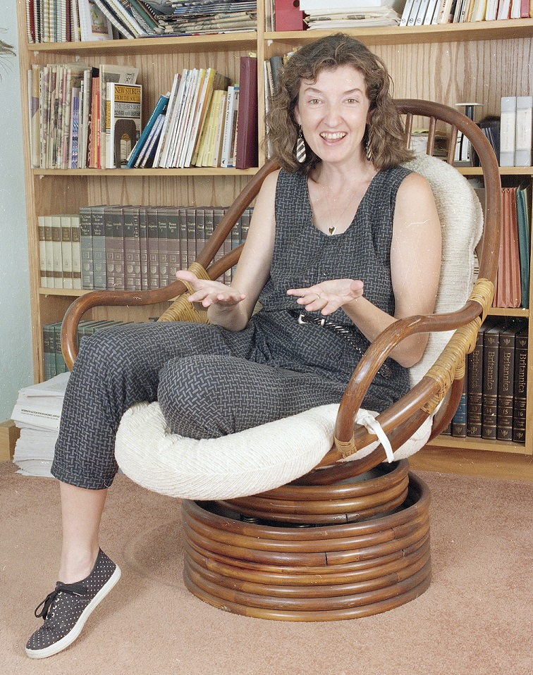 Author Barbara Kingsolver gestures during a photo session at her Tucson, Arizona home in October 1992. (AP Photo/John R. Miller).