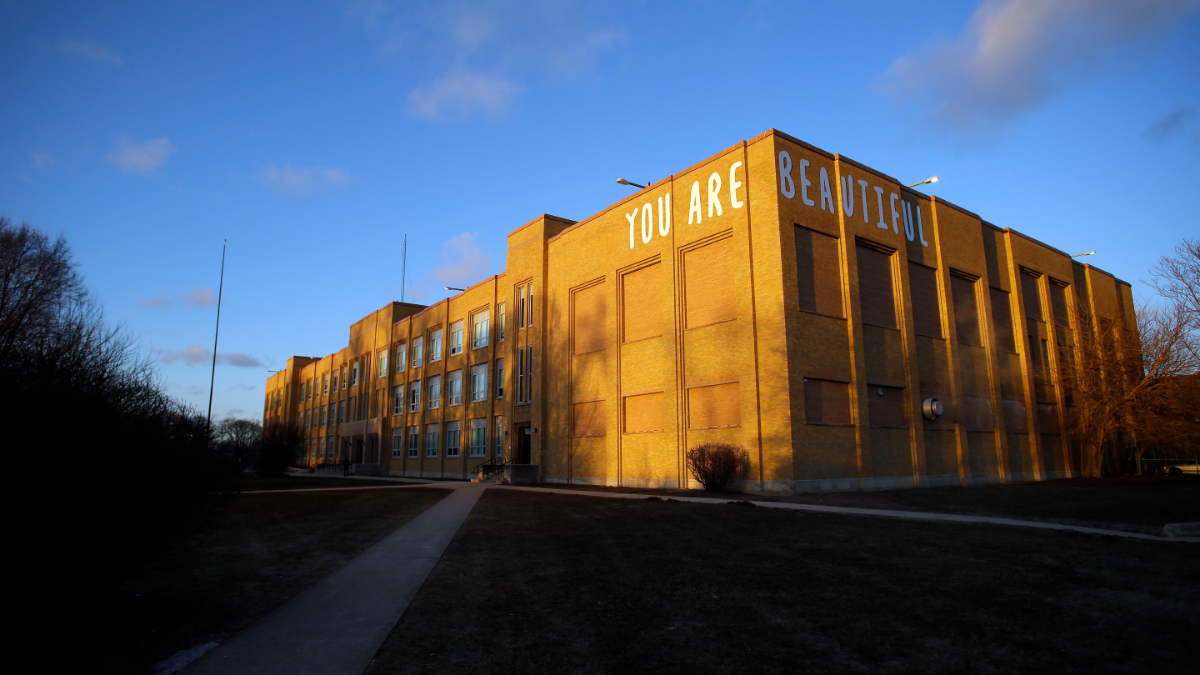 Taft High School, on Chicago's Far Northwest Side, was one of about two dozen schools in the city where officials monitored social media to try to head off violence. Most of the schools are majority black and are located on the city's South and West Sides. (Joshua Lott/For ProPublica Illinois)