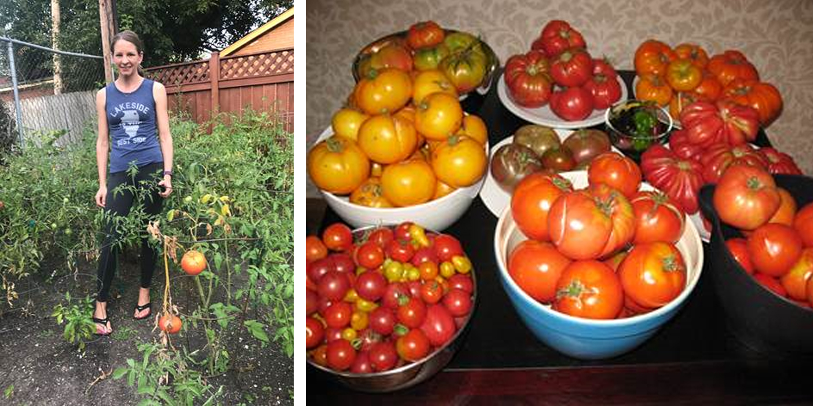 Left: Our questioner Sara Strasser, who noted that she has more photos of her produce than herself, stands in her vegetable garden. Right: The fruits of Sara's labor. (Courtesy Sara Strasser)