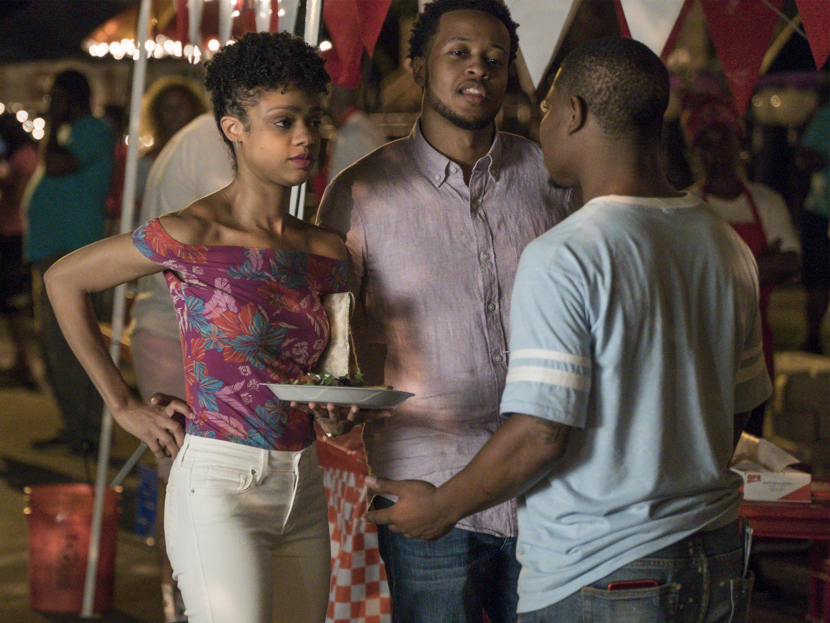 Tiffany Boone as Jerrika, Gregory Fenner as Demetrius, and Jason Mitchell as Brandon. (Matt Dinerstein/SHOWTIME)