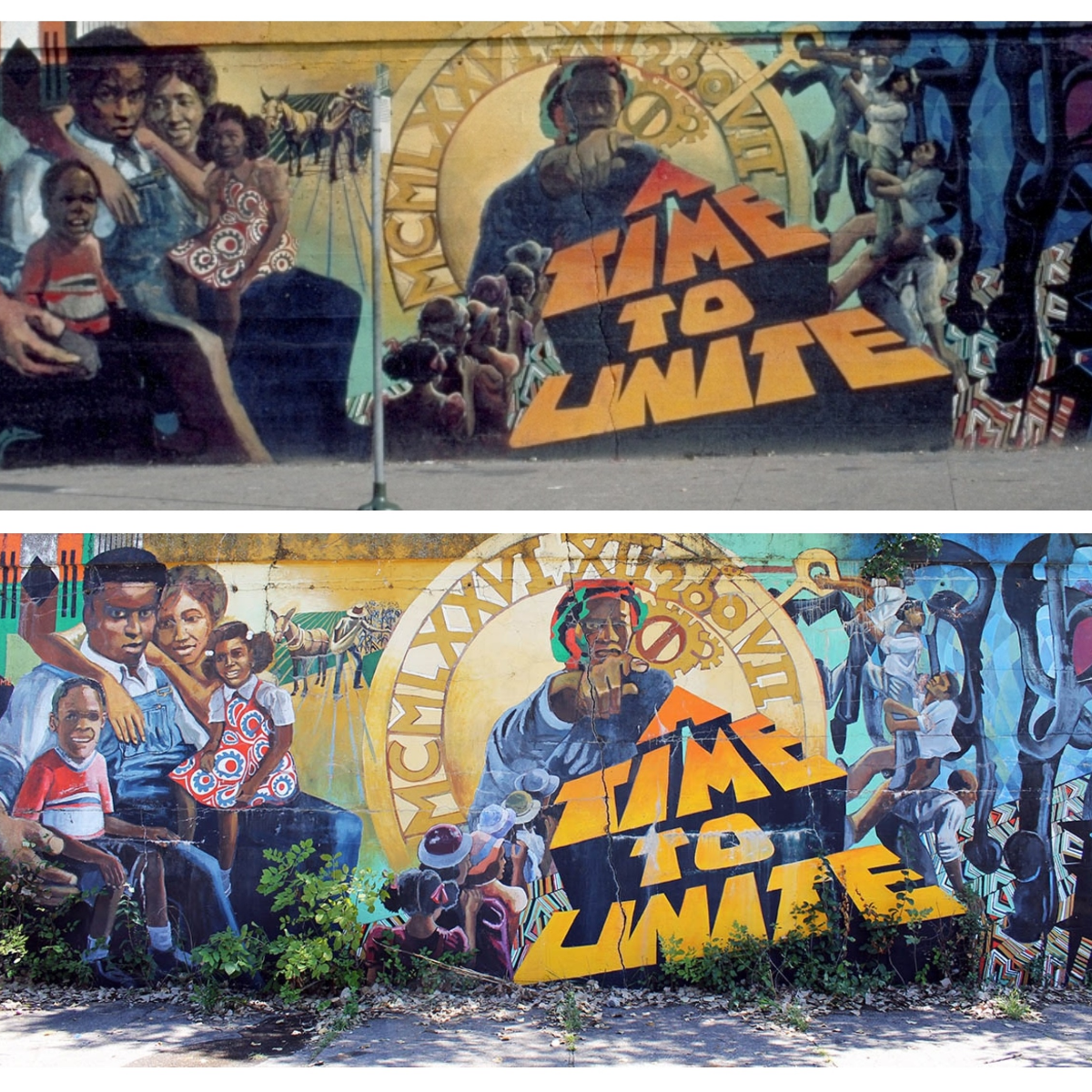 'A Time To Unite' was created by  Mitchell Caton, Calvin Jones and Justine DeVan in 1976. It's one of the many public art works that went up during the Mural Movement on the South Side. For artists of this time, murals were a way for artists to collaborate with community members and create a work that reflected the socio-political happenings of the time. According to art historian Marissa H. Baker, 'The murals, in their message and collaborative production, would then help instantiate the connection of the organization to the people it served.' (Top photo: George Stahl/Courtesy of George Stahl Mural Collection Archive; Bottom photo: Arionne Nettles/WBEZ).