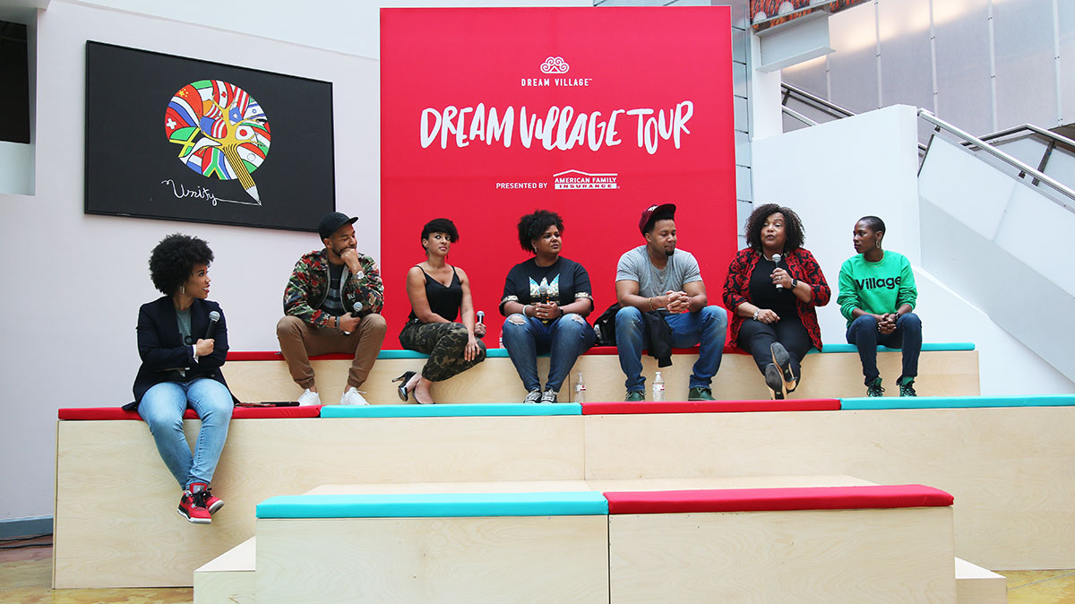 From left to right, Dream Village creator Eunique Jones Gibson, actor and singer Jussie Smollet, Thank God I'm Natural CEO and founder Chris-Tia Donaldson, cultural writer Afrobella, Enstrumental Brand founder Drew, and American Family Insurance Chief Marketing Officer Telisa Yancy. (Arionne Nettles/WBEZ)