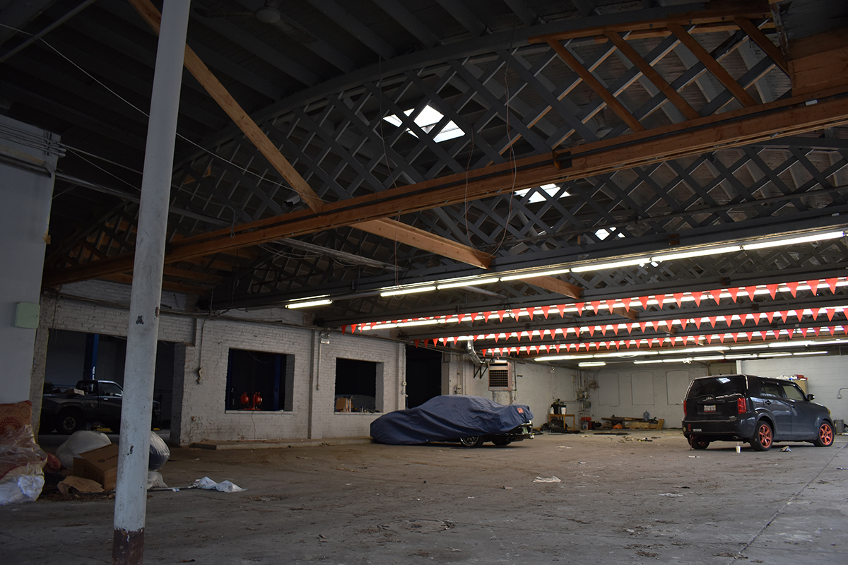 Inside are a few remnants of the building's past life as a Toyota dealership.
