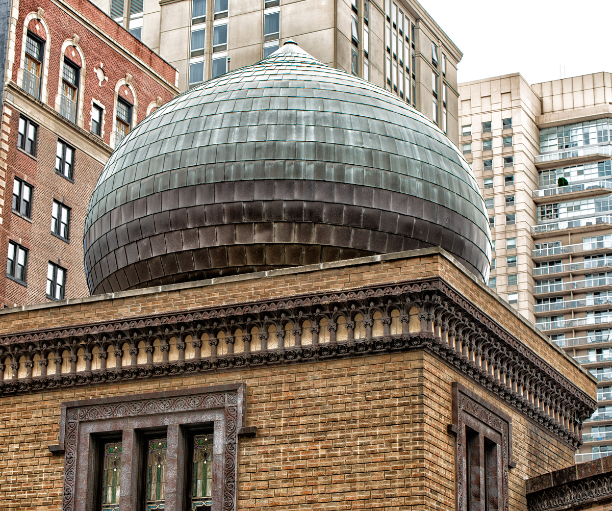 One of four domes atop the Medinah Temple, which is now home to a Bloomingdale's furniture store in the heart of the Downtown shopping district. (Jason Marck/WBEZ)
