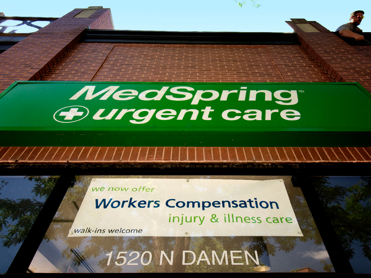 The MedSpring urgent care center at 1520 N. Damen Ave. used to be a laundromat where musicians would wash their clothes while recording at nearby Idful Studios.      (Jason Marck/WBEZ)