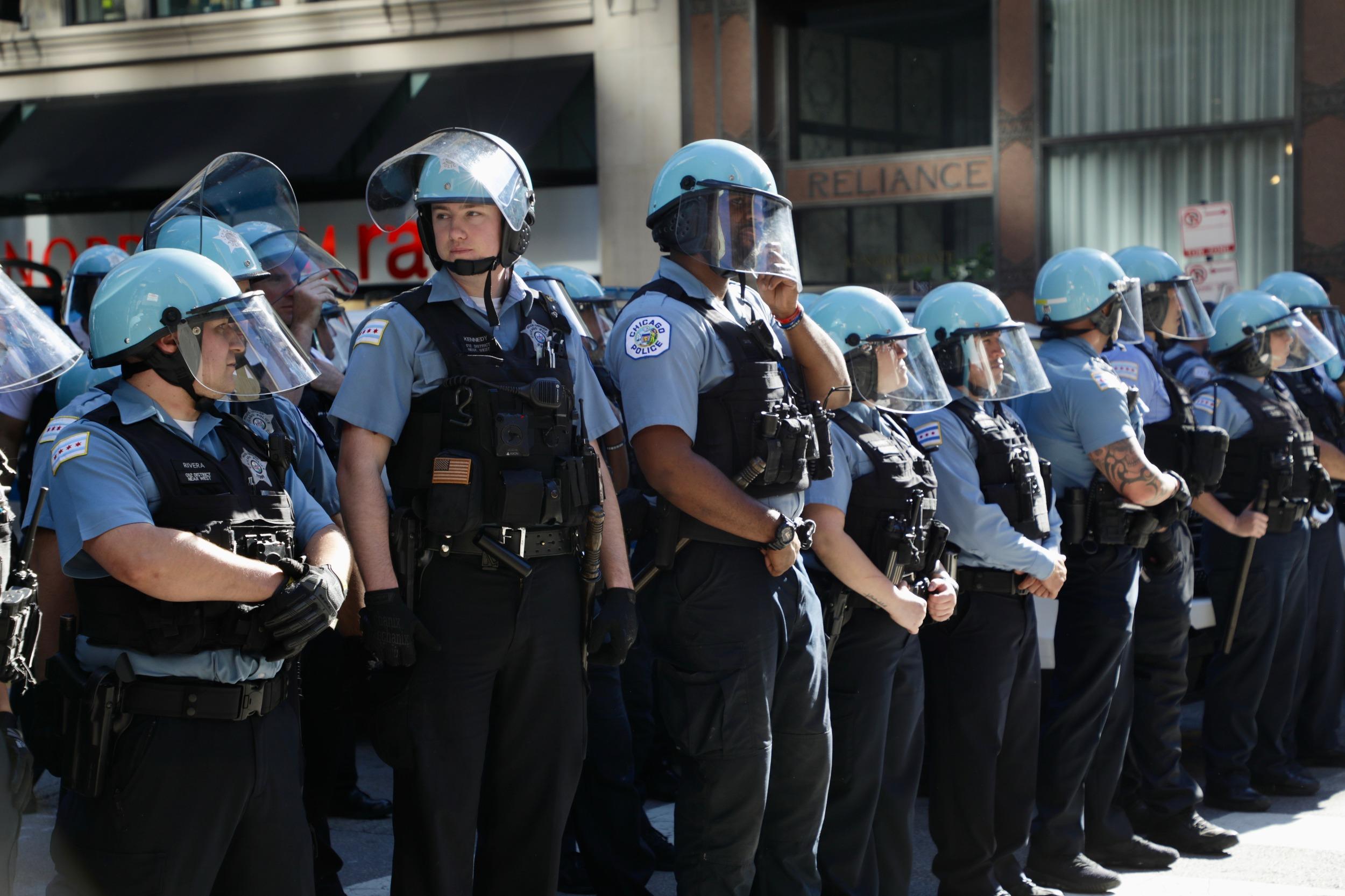 Line of cops