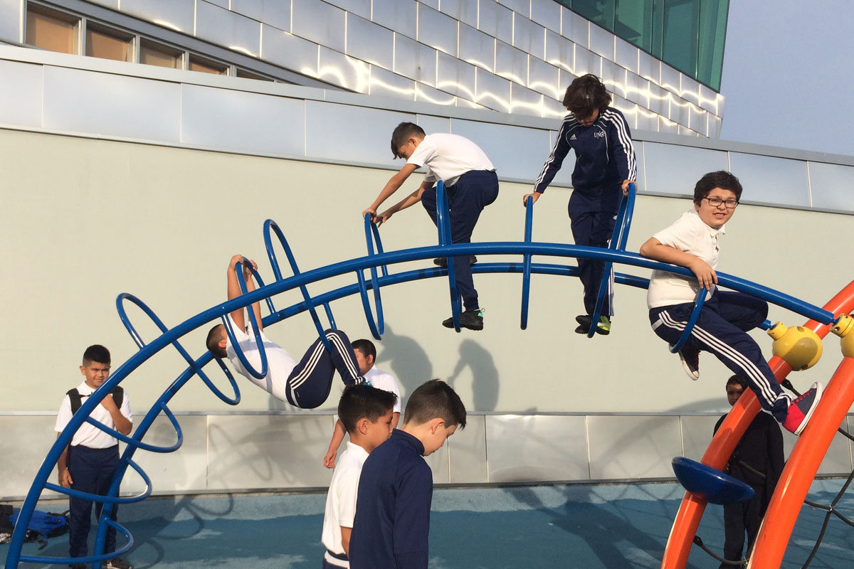 Students play before school at Jovita Idár Elementary. (Linda Lutton/WBEZ)