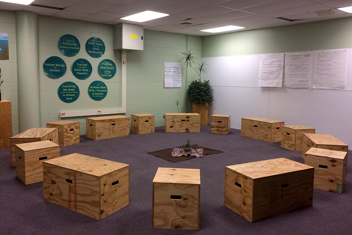 Staffing for this peace room at Robeson High School was funded by Get IN Chicago, which supported similar efforts at five struggling Chicago high schools. The programs have been defunded as Get IN Chicago shifts its anti-violence focus to out-of-school youth.  (Linda Lutton/WBEZ