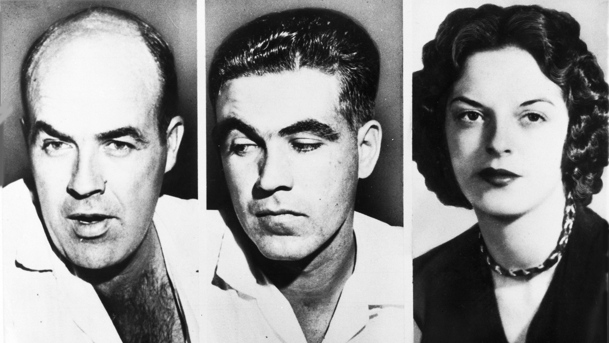 File photos of John W. Milam, 35, left, his half-brother Roy Bryant, 24 , centre, who went on trial in Sumner, Miss., Sept. 18, 1955, charged with the murder of 14-year-old African-American Emmett L.Till from Chicago, who is alleged to have 'wolf-whistled' and made advances at Bryant's wife Carolyn, seen right. (AP Photo)