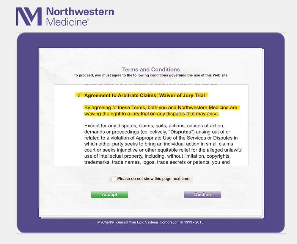 Northwestern Medicine now also requires patients to sign away their right to a jury trial in cases that involve the alleged mishandling of information on MyChart.(Screenshot of Northwestern Medicine website, edited by WBEZ)